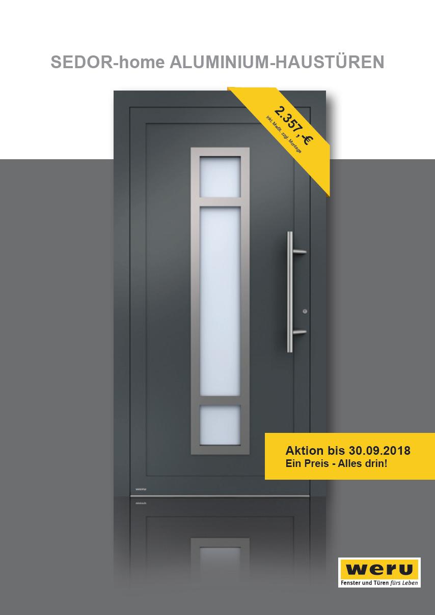 Verlängerung SEDOR-home ALUMINIUM-HAUSTÜREN bis 30.09.2018