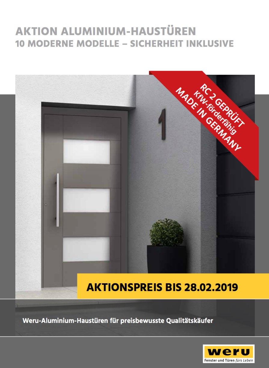Verlängerung Aktion ALUMINIUM-HAUSTÜREN (RC 2 GEPRÜFT) bis 28.02.2019
